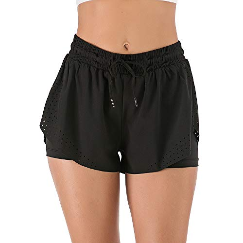 Lixada Damen 2 in 1 Sport Shorts Sommer Schnelltrocknende Kurz Laufhose Fitness Yoga Atmungsaktiv Sporthose Traningshose
