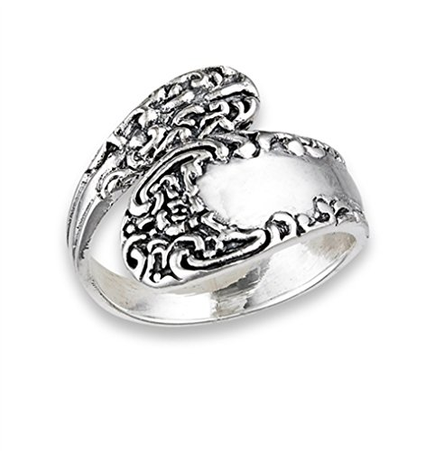 Vintage Celtic Knot Spoon Victorian Style Ring Sterling Silver Band Size 7