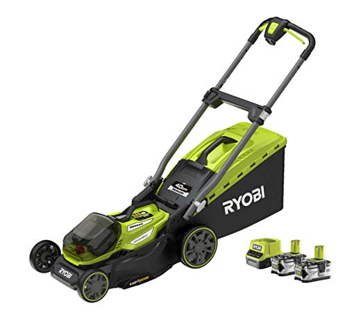Ryobi RY18LMX40A-240 18V Cordless Lawnmower with 2 Batteries and Charger 40 cm Cutting Width, 18 V