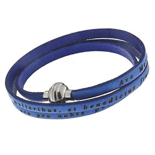 Les Trésors de Lily [Q4628 - Pulsera de Cuero Hecha a Mano 'Ave Maria' Azul (espíritu) - 3 Vueltas, 54 cm 4 mm.
