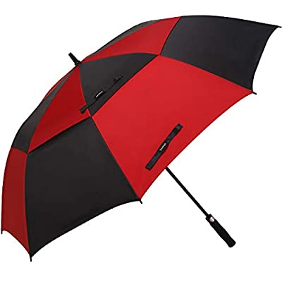 Doubwell Golf Umbrella Large Oversize 68 inches air Vent Double Canopy Windproof Automatic Straight rain Umbrellas for Men and Women (Black/Dark red)
