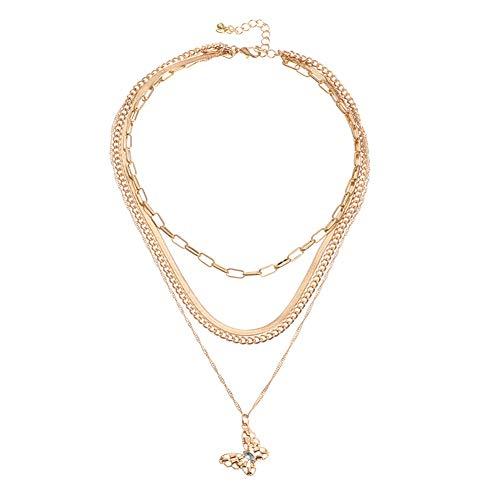Collar unisex con colgante de mariposa, cadena de hueso de serpiente, joyería de boda, aniversario, cumpleaños, día de la madre, regalo para mamá y mujer