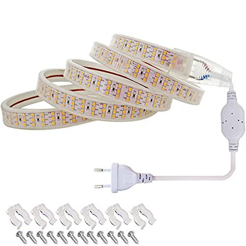 Tiras de luz LED 220V, Tesfish AC 220V, 276 LEDs / M Blanco Cálido 3000K IP67 Impermeable Tiras de Luces LED con Enchufe de la EU para Interior y Exterior, Armarios de Cocina, Decoración de Jardín