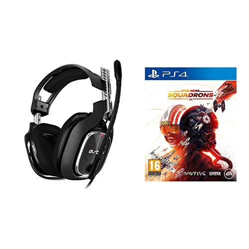 ASTRO Gaming A40 TR Auriculares alámbricos, 4ta Gen, Astro Audio V2, Dolby Atmos, Clavija 3.5mm, micrófono Intercambiable, Star Wars: Squadrons, Playstation 4, Negro/Rojo