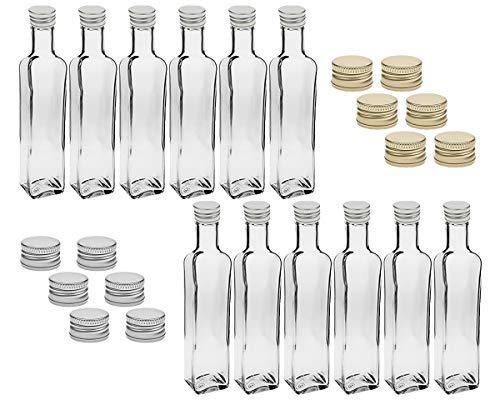 12 leere Glasflaschen Flaschen Maraska 250ml & ETIKETTEN zum Beschriften incl. Schraubverschluss Gold, Eckig, zum selbst Abfüllen Likörflasche Schnapsflasche