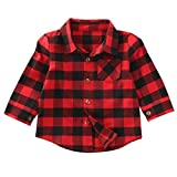 Toddler Baby Boys Girls Christmas Tops Long Sleeve Red Plaid Button Down Shirt Blouse Xmas Outfits (Red, 3-4T)