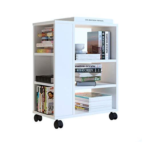 Libreria Cellulare Bookshelf Bambini Moderna Libreria Studenti Floor Cabinet Armadi Rack con Ruote Studio Bookshelf Creativo libreria (Color : White)