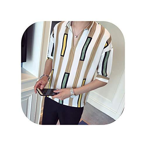 Camisa casual de gasa con cuello en V, manga corta, cuello en V, con contraste, Blanco, L
