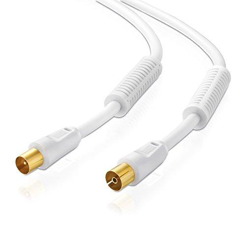 Sentivus ATVC010-015 Cavo antenna TV HDTV 110dB (spina coassiale - presa coassiale), 4 volte schermato, placcato in oro, 1,50m, bianco
