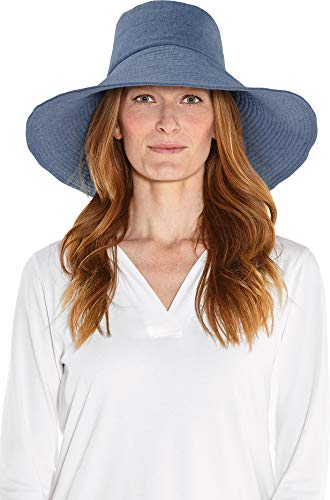 Coolibar UPF 50+ Women's Brittany Beach Hat - Sun Protective (One Size- Chambray)