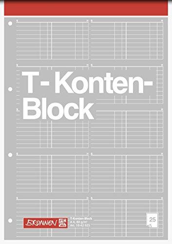 Brunnen 3er Pack 1042025 T-Konten-Block (A4, 25 Blatt, 10 T-Konten je Seite, gelocht, 80g/m²) (3)