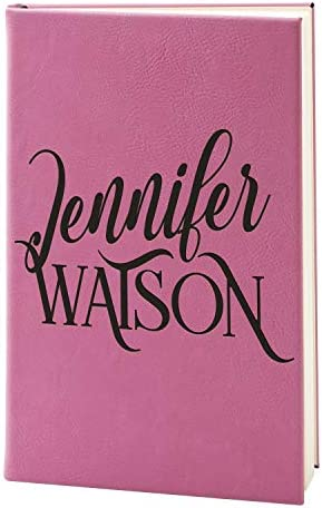 Personalized Leather Journals to Write In for Women 15 Design 9 Color Pink w Custom Text Customized product image