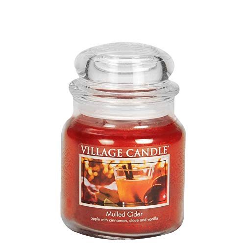 Village Candle Mulled Cider Medium Glass Apothecary Jar Scented Candle, 13.75 oz, Red