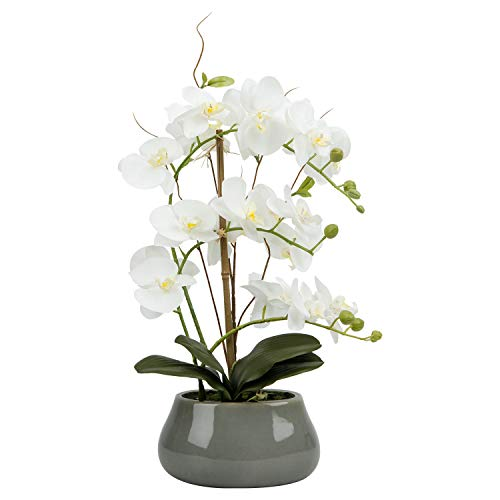 LIVILAN Artificial OrchidFlowersLargeFakeWhiteOrchid Artificial Flowers with PotSilkOrchidsPlantOrquidea ArtificialPhalaenopsis Orchidwith Ceramic Grey VaseIndoor Decor Table Decoration