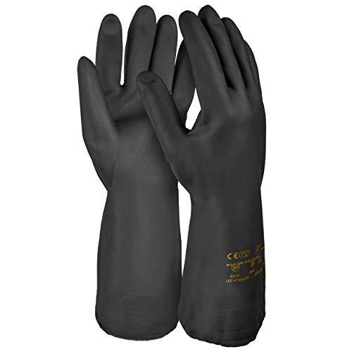 HandschuhMan. Schwarze Gummihandschuhe aus Neopren, lebensmittelgeeignet, Chemikalienschutzhandschuhe (10/XL)