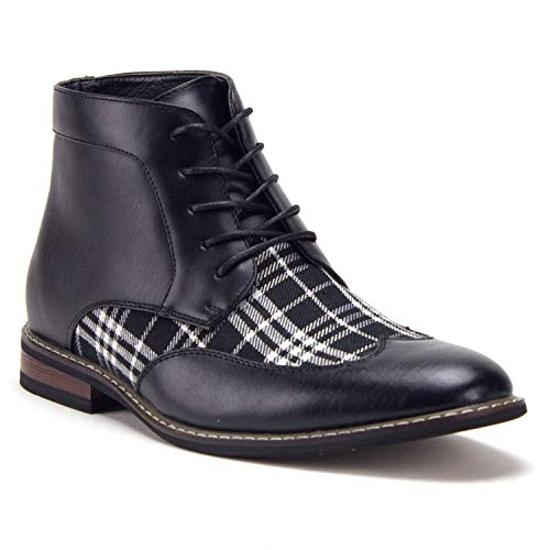 Jazame Men's Plaid Design Wing Tip Ankle High Lace Up Dress Boots, Navy, 10.5