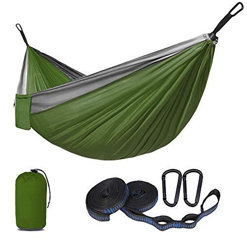 SUNNY GUARD Camping Hammock Portable Hammocks with Two Tree Straps Ultralight Nylon Parachute Hammock for Backpacking, Travel, 270 x 140 cm Green Grey