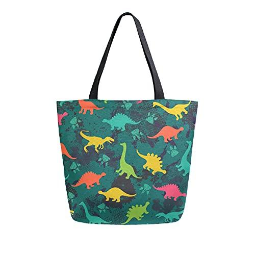 SunsetTrip - Bolsa de lona para mujer, diseño de huellas de dinosaurios, bolsa de hombro reutilizable grande, bolsa de compras con bolsillo interior