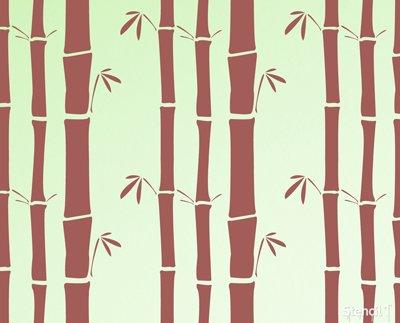 "Stencil1 Bamboo Repeat Wallpaper Pattern Stencil 11"" X 11"""