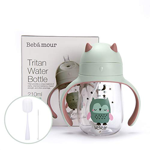 Bebamour Click Lock Weighted Baby Sippy Cups with Removable Handles No Spill Toddler Sippy Cups Transition Cups with Bottle Brush,Straw Cleaner Set (210 ML,Green)