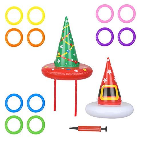TAZEMAT 2er Weihnachten Aufblasbare Ringwurfspiel Weihnachtsmütze Wurfspiel Partyspiel Kinder Eltern Wurfringen mit 12 Ringe und 1 Luftpumpe Partyhüte für Weihnachten Party Geburtstag Outdoor Indoor