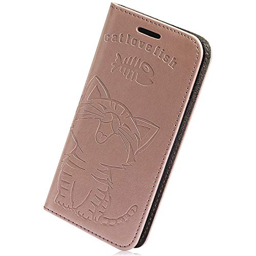 Best Bargain Herbests Compatible with Samsung Galaxy A70 Wallet Case Cute Retro Cat Fish Embossed Pattern Stand Flip Leather Case Full Body Protective Phone Case with Kickstand Credit Card,Rose Gold
