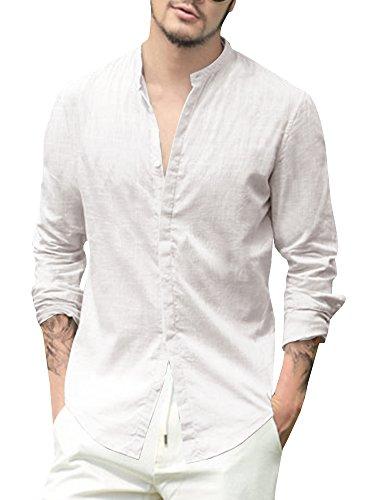 Gemijacka Leinenhemd Herren Regular Fit Langarm Hemd Herren Button-down Freizeithemden aus Leinen und Baumwolle, Weiß, XL
