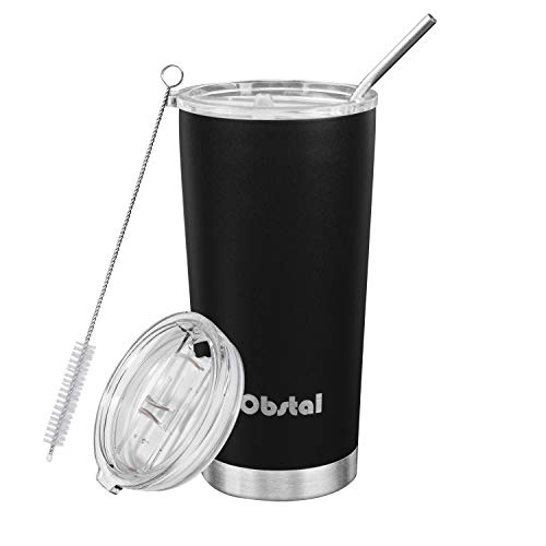 Obstal 20 oz Stainless Steel Insulated Tumbler - Double Wall Vacuum Travel Mug for Coffee with Straw, Slider Lid, Cleaning Brush, Black