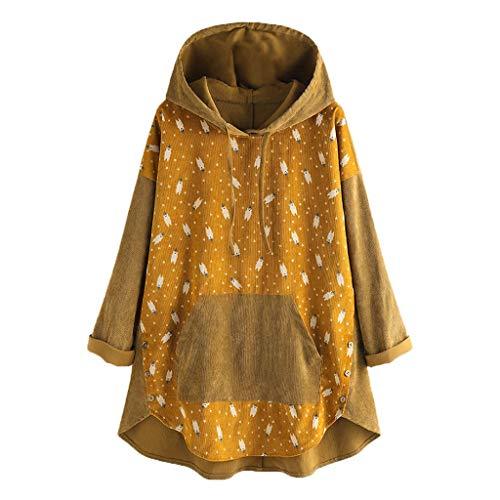 QingJiu Damen Hoodie Sweatshirt Cartoon Patchwork Pullover Langarm Knopf Weihnachten Tops Tasche Übergröße Bluse