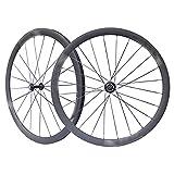 VDSOIUTYHFV Ruedas de Bicicleta de Carretera Juego de Ruedas de Carretera de Carbono Completo 700C * 38 mm Rueda en Forma de V Buje de 20-24 Orificios