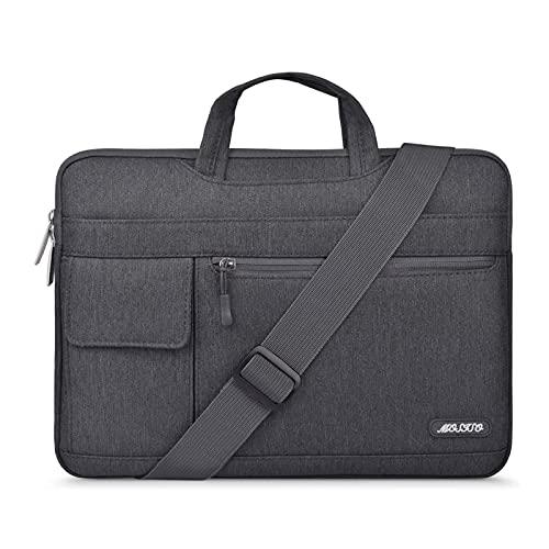 MOSISO Funda Protectora Compatible con MacBook Pro/MacBook Air/Ordenador Portátil 13-13.3 Pulgadas, Bolsa de Hombro Blanda Maletín Bandolera de Estilo Flap,Gris Espacial