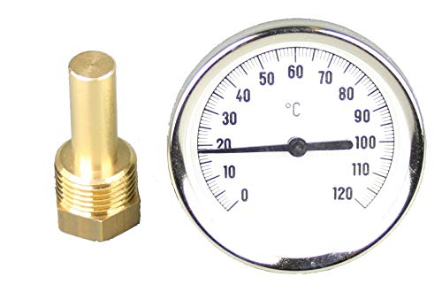 Tauchthermometer, Bimetallthermometer, Messinghülse, 0-120°C