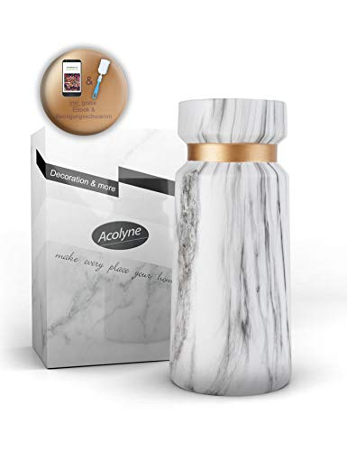 Acolyne Premium Vase Weiß aus Hochwertigen Keramik [mit Reinigungsschwamm & Ebook] als Moderne Marmor-Optik | Blumenvase Weiß als Marmor Deko | Weiße Vase | Vasen Deko auch geeignet für Pampasgras