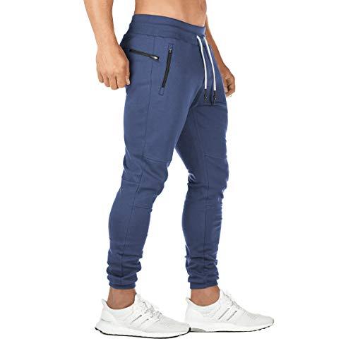 FEDTOSING Jogginghose Herren Fitness Spotshose Slim Fit Trainingshose Sweatpants Chino Baumwolle Taschen(DE194 Navy XL)