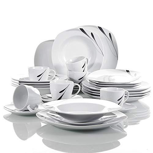 VEWEET 30-teilig Tafelservice aus Weiß Porzellan, Serie 'Karla', Kombiservice für 6 Personen, Geschirr Set