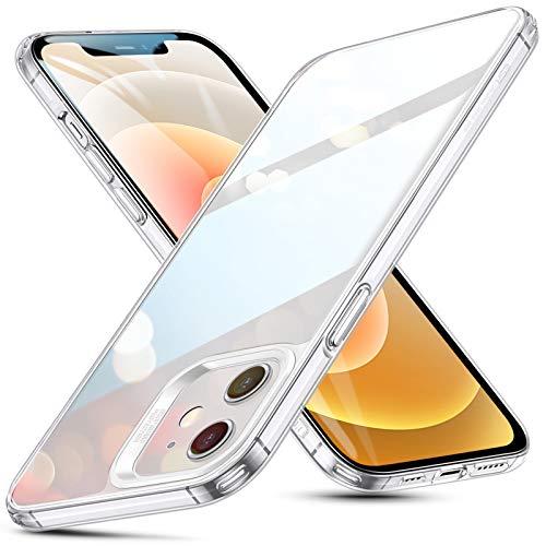 ESR Glas Hülle Kompatibel mit iPhone 12 & Kompatibel mit iPhone 12 Pro 2020 Kratzresistentes Panzerglas Stoßabsorbierender Flexibler Rahmen Anti-Gelb Schutzhülle – Klar