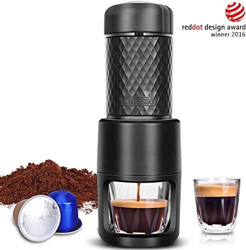 STARESSO Espressomaschine Manuell Kaffeemaschine Tragbare Kompatibel mit Kaffee und Kapsel Ideal für Campaing Hiking Büros oder Zuhause
