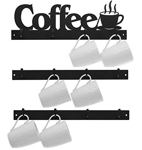 Lixgifts Soporte para taza de café montado en la pared con 12 ganchos, soporte para taza de café para organizador de pared, colgador...