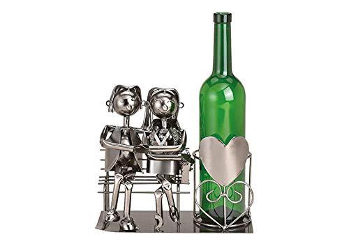 MC Trend Weinflaschenhalter Paar sitzend auf Bank Liebespaar Flaschenhalter Weinständer Skulptur Liebe Ehe Hochzeit Geschenk-Idee (Paar sitzend auf Bank)