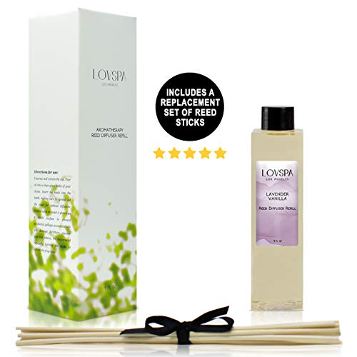 LOVSPA Lavender Vanilla Reed Diffuser Refill Oil with Replacement Reed Sticks - Great Scent for Kitchen or Bathroom, 4 oz - Made in The USA