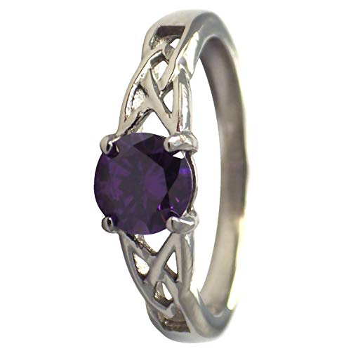 Fantasy Forge Jewelry February Celtic Birthstone Ring Purple Cubic Zirconia Engagement Band Size 10
