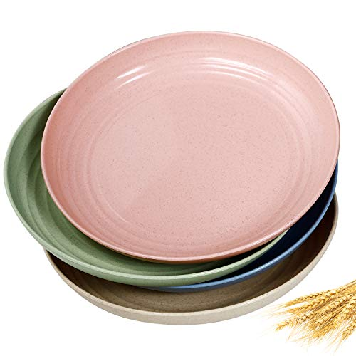 8.9 inch Wheat Straw Dinner Plates - Microwave Safe Lunch Plates Reusable Eco-friendly BPA Free Lightweight Degradable Unbreakable Dirt-resistant Easy Clean