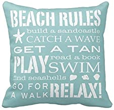 Decorbox Simple Word Holiday Beach Rule Quote Pattern 18×18 Inch Polyester Cotton..