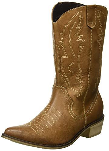 Kick Footwear Damen Western Leder Cowboy Stiefel Spitz Zehen Damen Breite Kalb Stiefel - UK 6 / EU 39, Braun