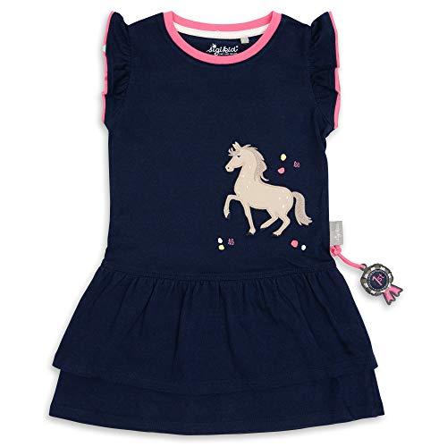 Sigikid Mädchen Mini Kleid aus Bio-Baumwolle für Kinder Kinderkleid, Blau/Pferd, 128
