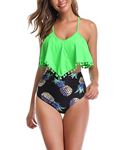 Swimsuits for Women Two Pieces Bathing Suits Top Ruffled Racerback with High Waisted Bottom Set 16-18 Green + Pineapple