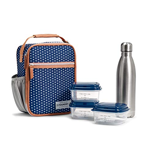 Fit & Fresh Insulated Lunch Bag, includes Matching Containers and Water Bottle, Thayer, Navy White Dot