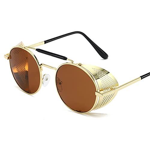Lsdnlx Gafas de Sol,Gafas de Sol para Mujer Gafas de Sol Redondas de Metal Vintage para HombreGafas Steampunk UV400