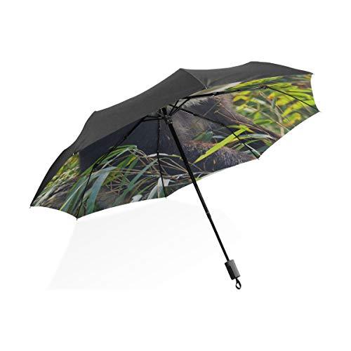 Paraguas invertido Panda Gigante Negro Coma Hojas de bambú Paraguas Plegable Compacto...