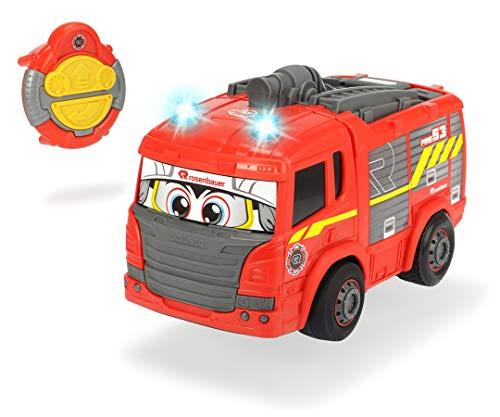 Dickie Toys IRC Happy Fire Truck 203816032 - Camión de Bomberos con Mando a Distancia por Infrarrojos, avanza Recta, Marcha atrás a la Curva, Velocidad de hasta 2 km/h, 27 cm, Color Rojo